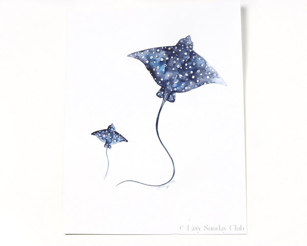 "Two Spotted Eagle Rays - Original Watercolor Painting 11""x14"""