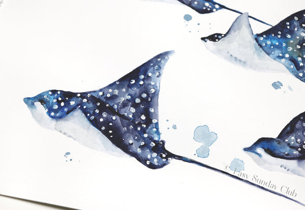 Family of Spotted Eagle Rays Original Watercolor Painting | Under the Sea