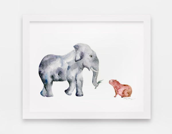 "Elephant & Capybara / ""David & Goliath"" Watercolor Art Print"