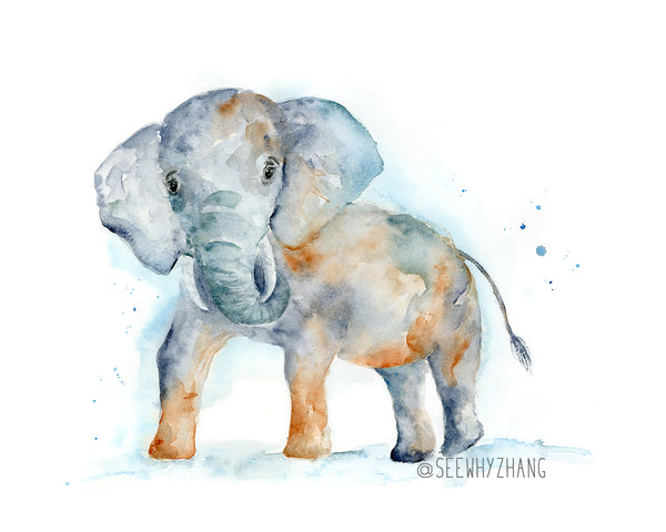 "Ace the Elephant - Original Watercolor Painting 11""x14"""