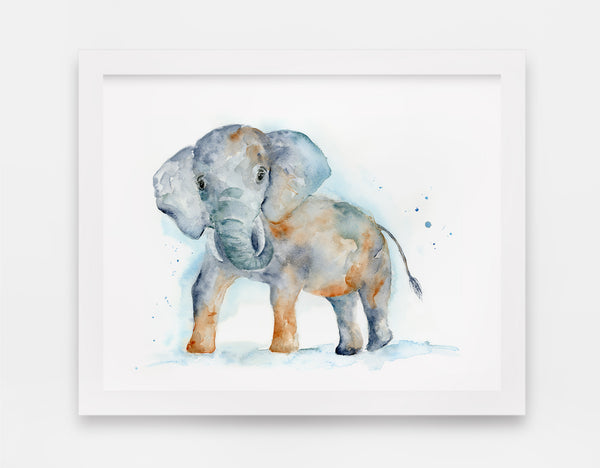 Ace the Curious Elephant - Watercolor Art Print