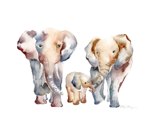 elephant family of three kids, wall art for family of 3. watercolor art print with a family portrait with 2 parents and 1 child.