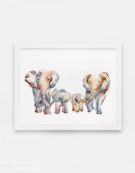 Elephant Family Print With Customizable Family of 3, 4, or 5 - Watercolor Art Print