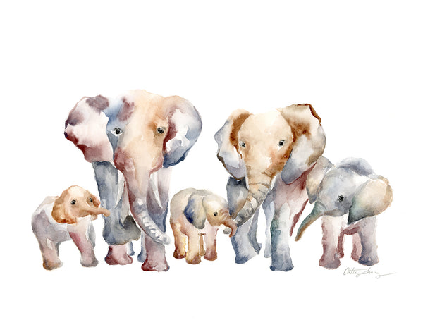 elephant family of 5 kids, wall art for family of 5. watercolor art print with a family portrait with 2 parents and 3 kids.