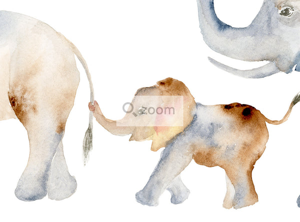 Elephant Family of 3 - Modern Watercolor Art Print