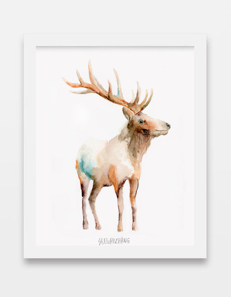 Empathetic Elk Art Print - Alphabet in the Wild