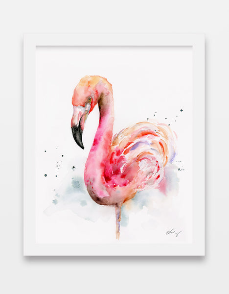 pink flamingo watercolor art print