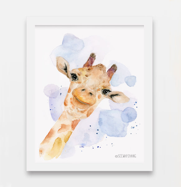 "Zoey II - Giraffe Original Watercolor Painting - 8""x10"""