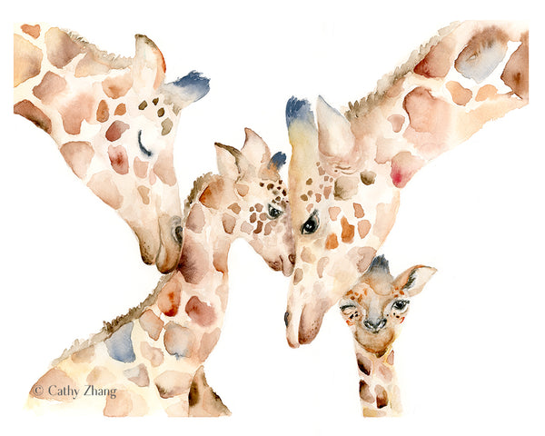giraffe family watercolor art
