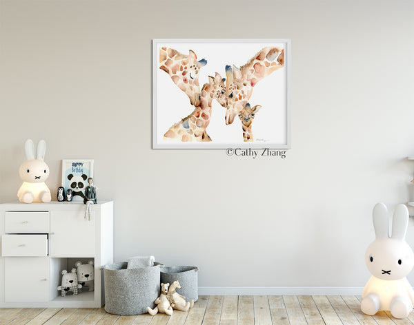 Giraffe Family of Four - Watercolor Art Print