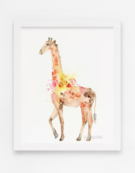 modern giraffe watercolor for nursery decor