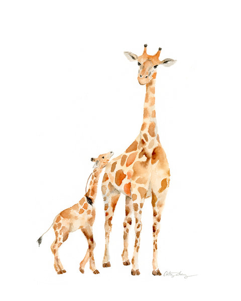 giraffe mother and baby watercolor painting, art