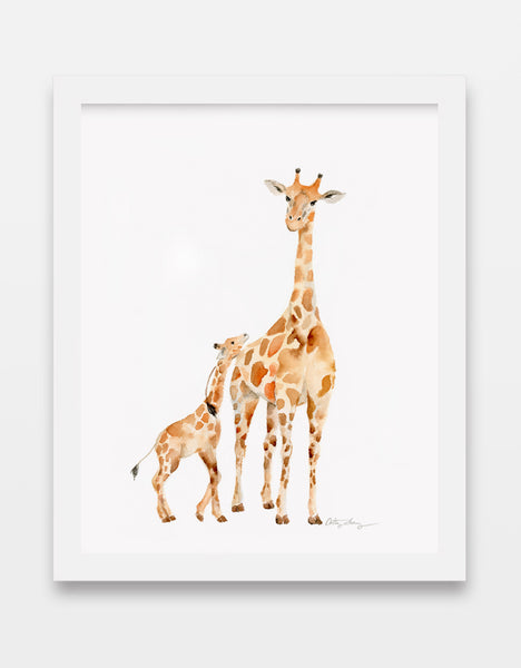 Giraffe Mother and Baby - Watercolor Art Print