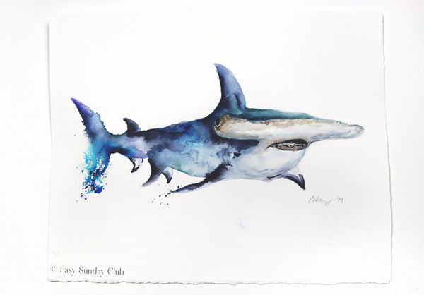 Hammerhead Shark Original Watercolor Painting | Under the Sea