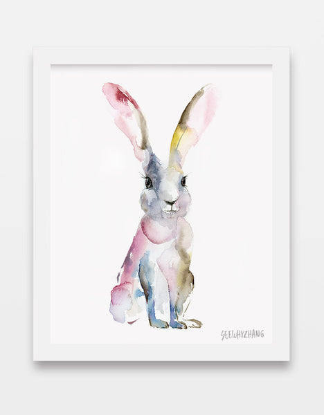 Humble Hare Watercolor Art Print - Alphabet in the Wild