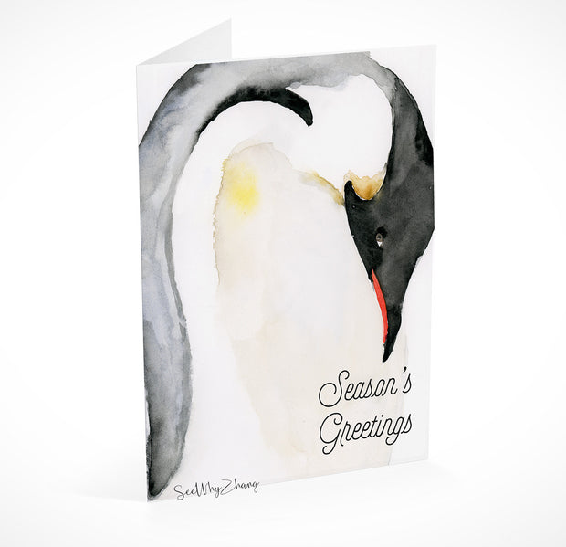 Penguin Holiday Card Digital Download Template 1
