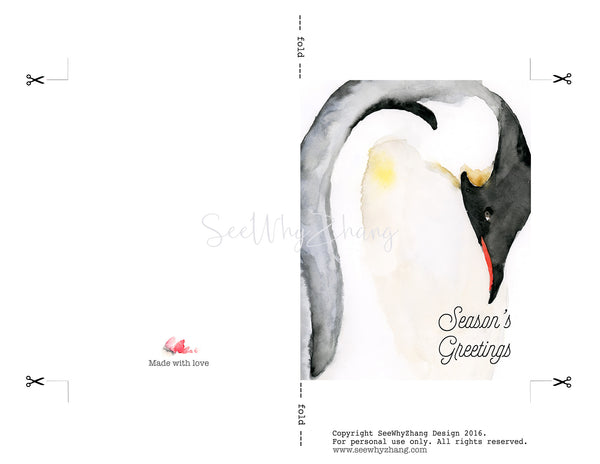 Penguin Holiday Card Digital Download Template