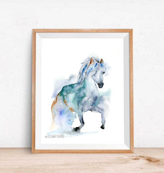 "Untamed - Wild Horse Original Watercolor Painting - 9""x12"""