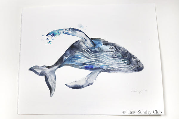 humpback whale watercolor art