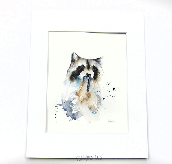 """OMG"" Raccoon - Original Watercolor Painting - 8""x10"""