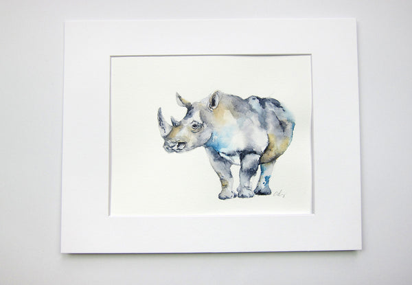 "Rambunctious Rhino Original Watercolor Painting - 8""x10"""