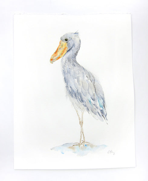 Shoebill Stork Original Watercolor Painting - 11x14