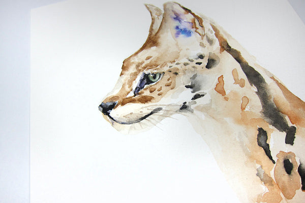 "Serval Wild Cat Watercolor - Original Painting 6""x9"""