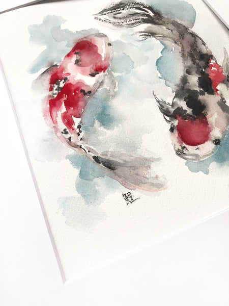 koi fish watercolor ink and gouache painting