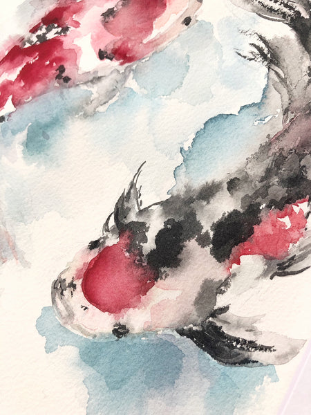 "Koi Fish ""Strength"" Original Watercolor Painting (8""x10"")"