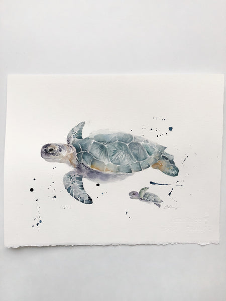 "Original Swimming Sea Turtles Watercolor Painting - 11"" x 14"""