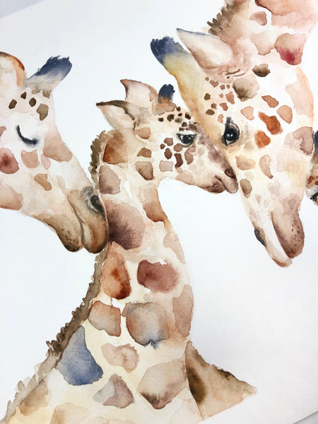 Giraffe Family of Four - Watercolor Original Painting