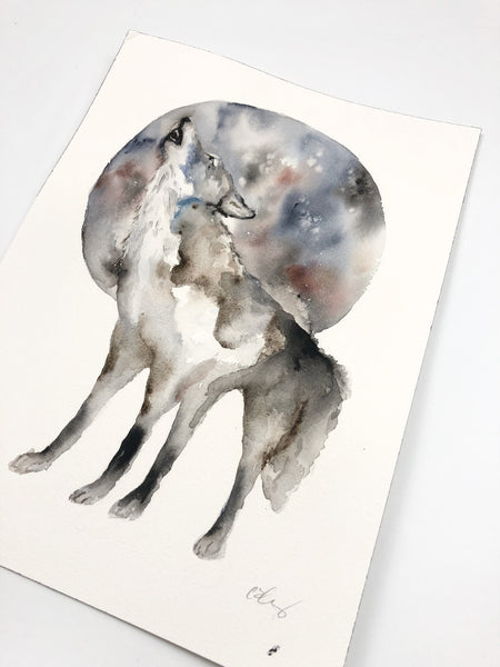 "Howling Wolf - Original Watercolor Painting 9""x12"""
