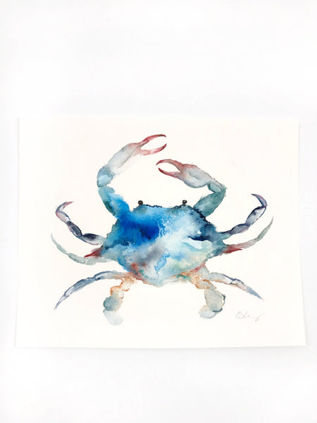 "Blue Crab Original Watercolor Painting - 8""x10"""