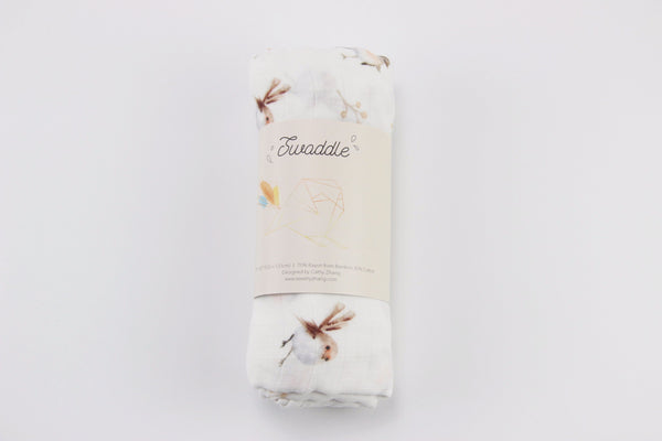 chubby robin birds bamboo cotton swaddle