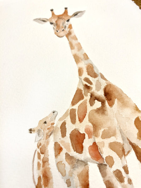 close up of a giraffe mother and baby painting