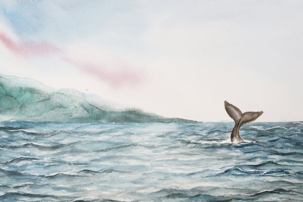 velvet blue ocean ripples and gray whale tail in distance watercolor landscape close up