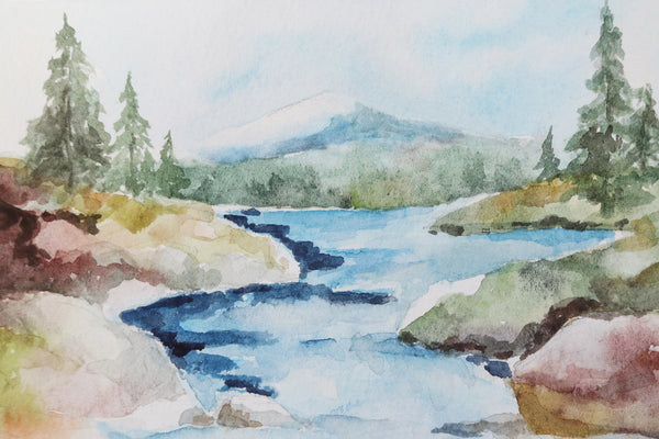 rocky stream rolls down from a mountain tucked away in a forest watercolor landscape close up