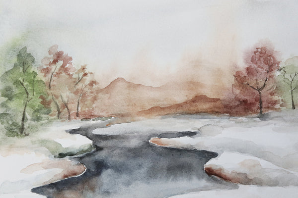 icy stream divides watercolor landscape into two snowy fields close up