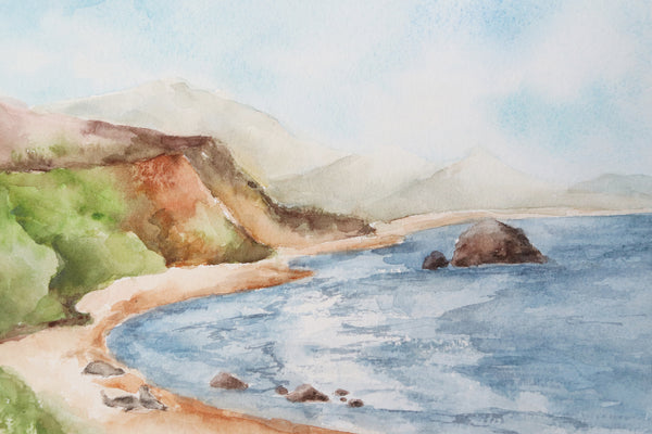 blue ocean cove surrounded by green hills and three seals on the beach watercolor landscape close up