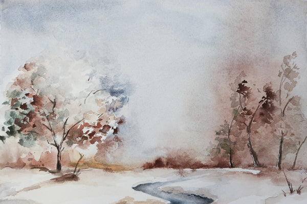 Chilly frozen winter watercolor landscape featuring small stream in a park close up
