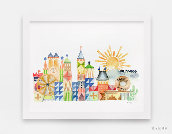 Limited Edition LA Landmarks Fine Art Print - Mary Blair Inspired