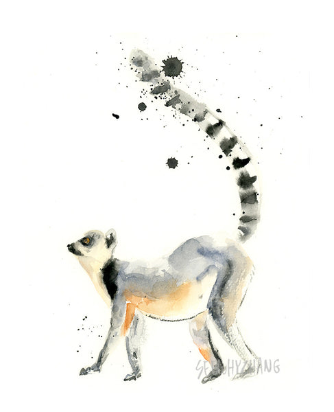 Ring Tailed Lemur Watercolor Art Print - Alphabet in the Wild