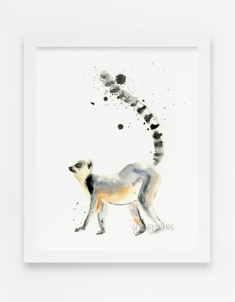Lonesome Lemur Watercolor Art Print - Alphabet in the Wild