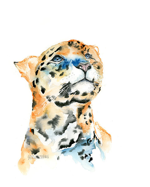 "Leopard Original Watercolor Painting - Big Wild Cat 9""x12"""