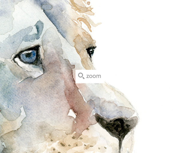 Introspective Lion Watercolor Art Print