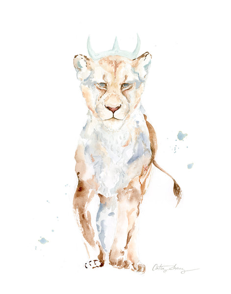 "Lioness - Original Watercolor Painting 11""x14"""