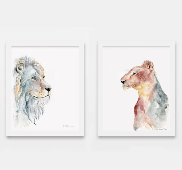 lion and lioness watercolor art prints