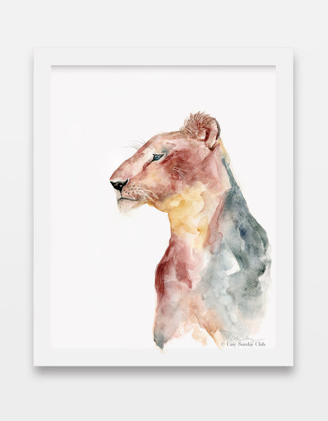 lioness watercolor art print