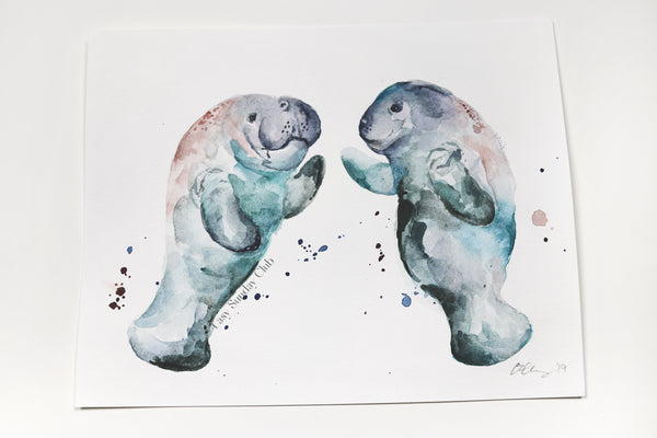 manatee watercolor painting | sea cow art