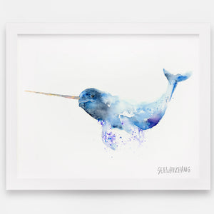 Nomadic Narwhal Watercolor Art Print - Alphabet in the Wild